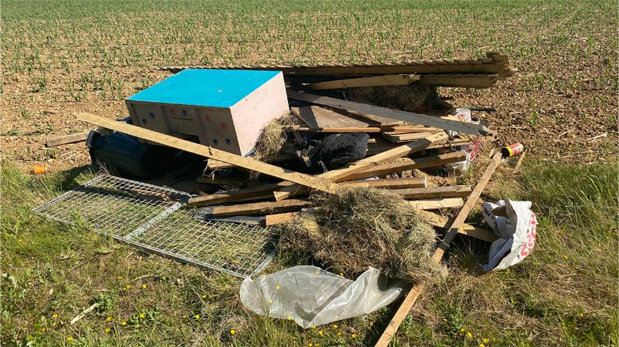 Fly tipping in a field